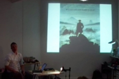 Armin Medosch showing and image of waves and romantic art by Casper David Friedrich