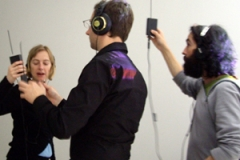 Amanda Steggell, Erich Berger and Martin howse performing in the lab